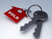 Key with sold home Stock Image
