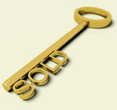 Key With Sold Text As Symbol For Buying A House stock illustration