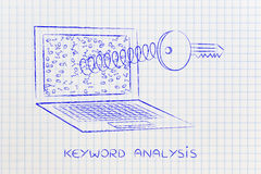 Key on spring out of laptop screen, keyword analysis Stock Photo
