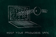 Key on spring out of laptop screen, passwords & security Stock Photography