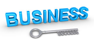 Key for success in business. Business word and a key of success in front of it Stock Image
