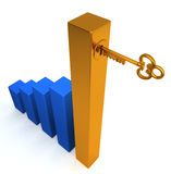 Key of success concepts. A higher golden financial bar chart managing by a key of success Royalty Free Stock Photography