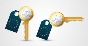 Key of success. Euro money key of success concept Stock Image