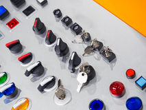 Key swithc, selector switch, Push button swithc, sign light Stock Photos