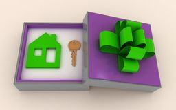 Key and symbol of house in gift box Royalty Free Stock Photo