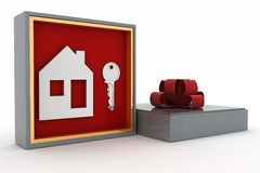 Key and symbol of house in gift box Royalty Free Stock Photography