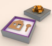 Key and symbol of house in red gift box Stock Photos