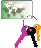 Key tag. With world map  and keys Stock Photos