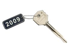 Key with tag 2009. Isolated on white background Royalty Free Stock Images