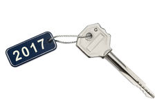 Key with tag 2017. Isolated on white background Royalty Free Stock Photos