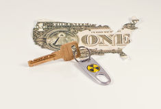 Key with a tag from a nuclear weapon Stock Image