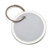 Key Tag Round. Round Key Chain Tag Isolated on White Background Stock Photos