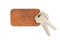 Key tag. Wooden key tag isolated on white background Stock Photo
