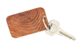 Key tag. Wooden key tag  on white background Stock Image