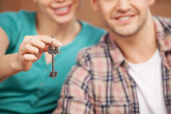 Key of their brand new house. Stock Photo