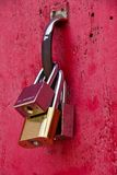 Key. Three keys hanging on a red door Royalty Free Stock Images