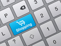 Key to access the shopping cart Stock Photo