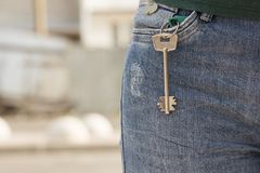 The key to the apartment in your jeans pocket royalty free stock photo