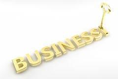 Key to Business. The word business written in gold and with a golden key Stock Image