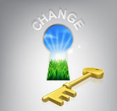 Key to Change. Conceptual illustration of an idyllic sunrise over fields seen through a keyhole with a golden key and success sign over it. Could be used in Stock Images
