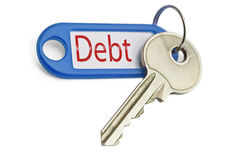 The key to debt. On a white background Royalty Free Stock Photography