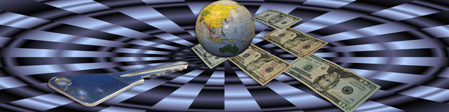 Key to financial success. Banner with the globe as a central point. The money and key are metaphors and leading to the title: Key to financial success Stock Image