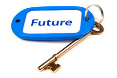 Key To The Future. A Keyring with Future printed on it attached to a key Royalty Free Stock Image
