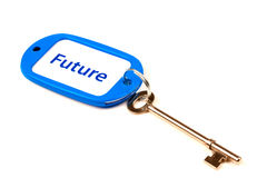 Key to the Future. A Keyring with Future printed on it attached to a key Royalty Free Stock Photo