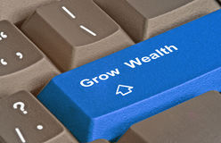 Key to grow  wealth. Keyboard with key to grow  wealth Royalty Free Stock Image