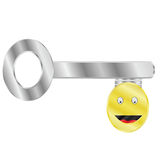 Key to happiness. Concept illustration of a key with a happy face: the key to happiness Royalty Free Stock Images