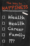 Key to happiness. High resolution black chalkboard image with to do list for the quest to happiness. One missing point with question marks. Conceptual Stock Images