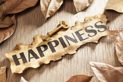 Key to happiness concept. Business key concept using burnt paper with word happiness printed on it and a goldn key surrounded by dried leaves Stock Photo