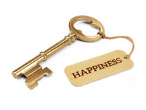 Key to Happiness concept - Golden key with happiness tag isolated on white Stock Images