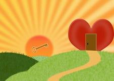Key to the heart Stock Photos