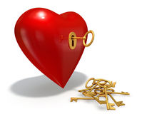 Key to heart. Golden key opens a red heart Stock Photo