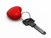 Key to the heart. Key with red heart. Isolated Royalty Free Stock Photography
