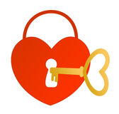 Key to the heart. Colorful illustration of a locked heart with a keyhole and a golden key Royalty Free Stock Image