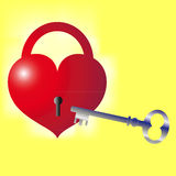 Key to the heart. Heart as a lock and key on a yellow background Stock Photos