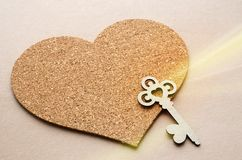 Key to the heart as a symbol of love. St. Valentines Day card concept Royalty Free Stock Photos