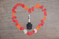 Key to heart symbol of love. Concept dating close up Stock Photography