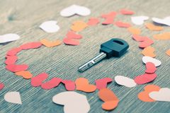 Key to heart symbol of love. Concept dating close up Royalty Free Stock Photography