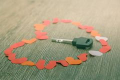 Key to heart symbol of love. Concept dating close up Royalty Free Stock Photos