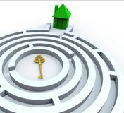 Key To Home In Maze Shows Property Search. Key To Home In Maze Shows Property Or House Search Stock Image