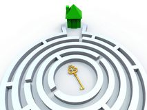 Key To House In Maze Shows Property Search. Key To House In Maze Shows Property Or Home Search Royalty Free Stock Image