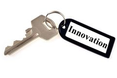 The key to innovation on white background stock photo