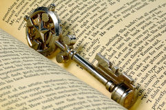 Key To Knowledge. Decorative Key in a Book Stock Image