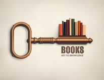 Key to Knowledge. Books key to knowledge, eps 10 Stock Photography