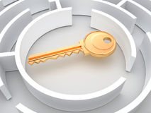 Key to labyrinth Royalty Free Stock Images