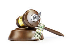 Key to the law of money. On a white background Stock Photo