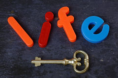 Key to Life. Antique key on a slate background with the word life in letters Royalty Free Stock Photos
